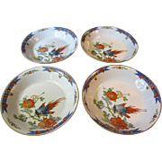 Four Early Woods & Sons Bird Design Soup Plates