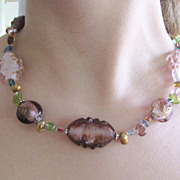 Super Ornate Art Glass Beaded Necklace