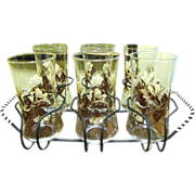 Great Looking Set of 6 Retro Tumblers in Wire Caddy