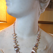 "SALE Lovely 18"" Cultured Keishi Pearl Necklace with Silver Tone Toggle Clasp"