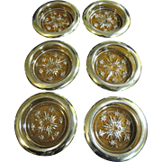 SALE Lovely Matched Set of 6 Silver Plated & Crystal Coasters, Italy