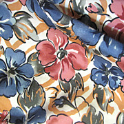 Lovely Retro Silk Floral Print Scarf, 54&quot; Long, Ships Free!