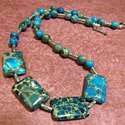 "Stunning 18"" Imperial Jasper & Silver-tone Bead Necklace, Great Colors!"