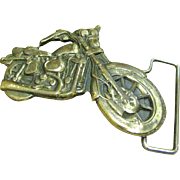 Cool Vintage Solid Brass Motorcycle Buckle, circa 1970's‏
