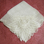Loveliest Vintage Wedding Hankie, Two Types of Exquisite Lace