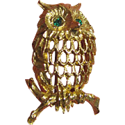 Vintage Retro Napier Owl Pin with Rhinestone Eyes