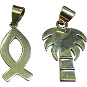 Two Very Pretty Sterling Silver Pendants, Palm Tree & Fish
