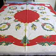 "Lovely Startex 52"" by 46"" Vintage Christmas Tablecloth"