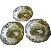 3 Square Cereal Bowls, The Friendly Village Pattern by Johnson Bros