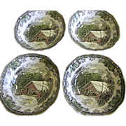 Four Round Cereal Bowls in The Friendly Village Pattern by Johnson Bros