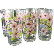 Summers Loveliest Set of 8 Vintage Pink Dogwood Tumblers