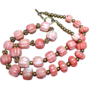 SALE Large Hand Carved Coral Melon Bead Necklace