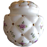 Lovely Hand Painted Lidded Milk Glass Jar Con Cora Florette by Consolidated Glass