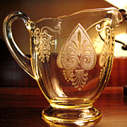 Beautiful Fostoria Trojan Pattern Topaz Creamer
