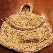 Circa 1930's Art Deco Seed Bead Purse, Ornate and Pretty!