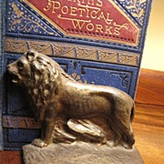 Nice Pair of 1920's Cast Iron Figural Lion Book Ends