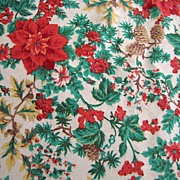 SALE Pretty Vintage Cotton Christmas Poinsettia Tablecloth with Lace Edging
