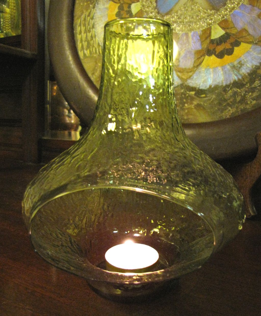 Unusual fine green glass chiminea candle holder cool for Cool candlesticks