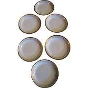 SALE Nice Set 6 Antique French Limoges Butter Pats, Banded Gilt Edges