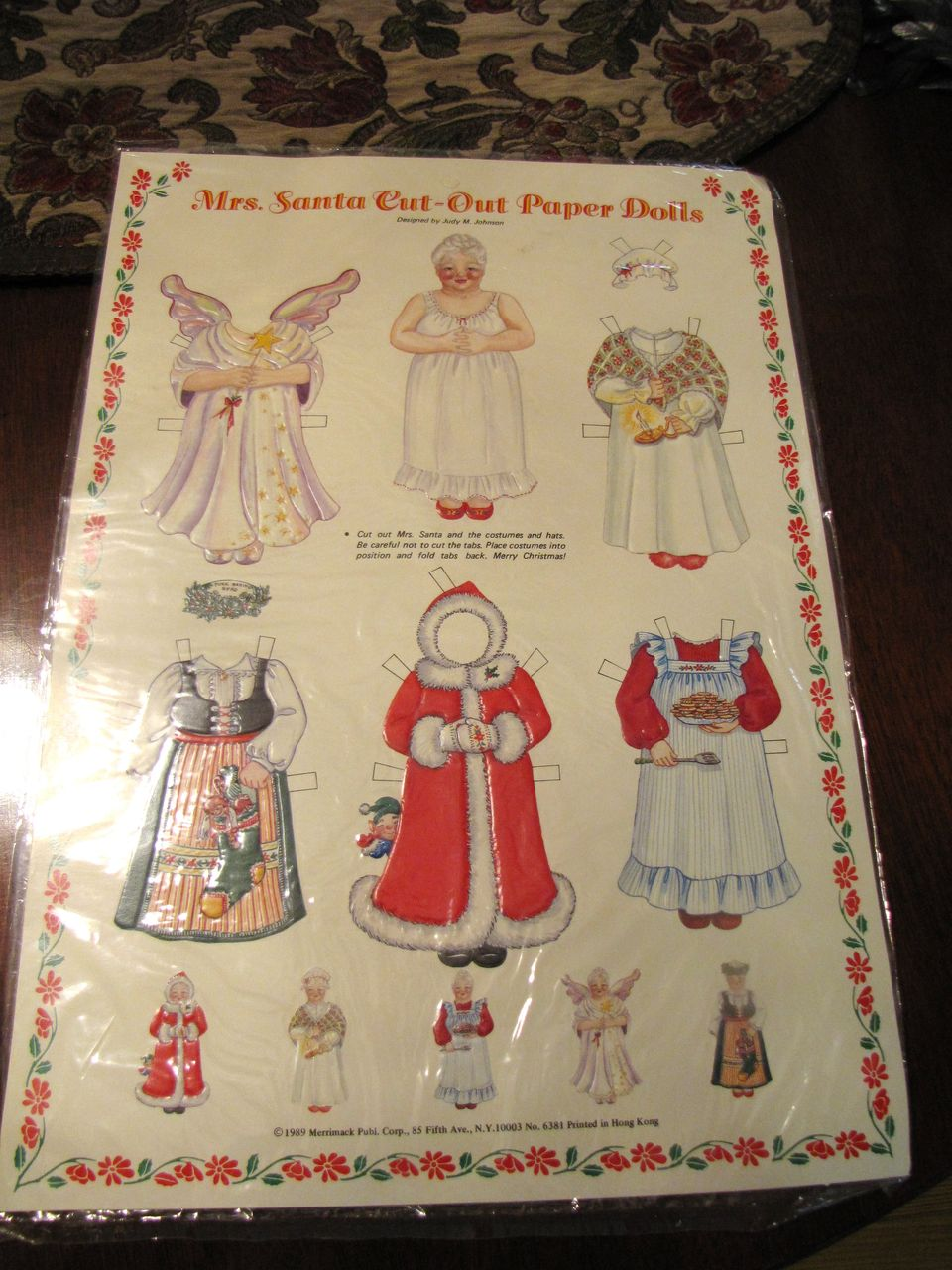 Great Vintage Mrs Santa Cut Out Paper Doll by Merrimack