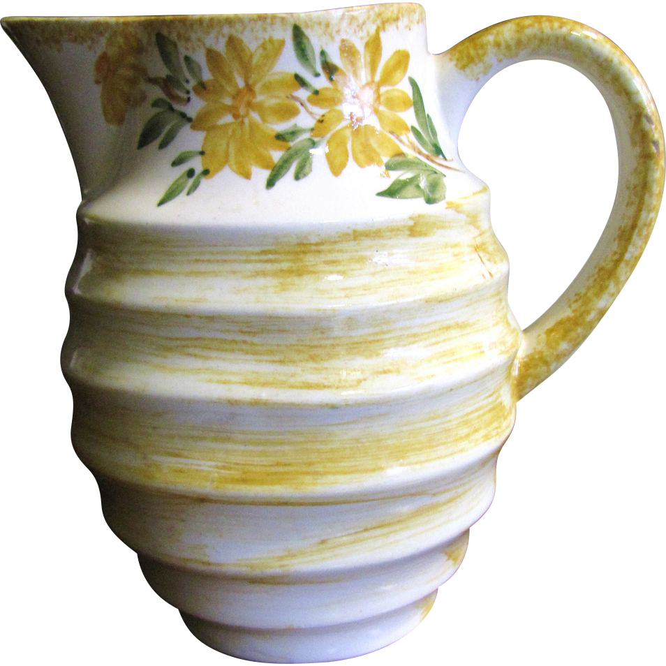 "Pretty Yellow Floral 6""  Cash Family Pottery Pitcher"