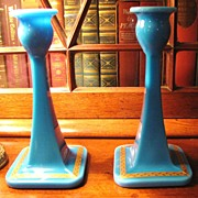 SALE Beautiful Pair of Blue Azurite Opaline Neo-Classical Style Candlesticks