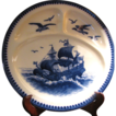 Beautiful Villeroy and Boch Mettlach Flow Blue Divided Platter with Sailing Galleon