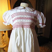 Prettiest Vintage Hand Smocked Cotton Small Girls Dress with Sash