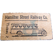 Hamiliton Street Railway Company Bus Ticket, Early 20hc