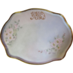 Large 16&quot; Hand Painted Floral Porcelain Vanity Tray Dated 1914