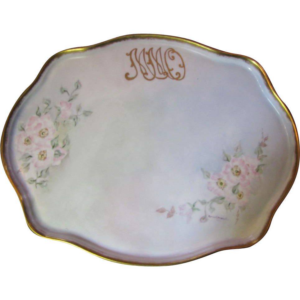 "Large 16"" Hand Painted Floral Porcelain Vanity Tray Dated 1914"