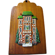 Interesting Artisan G. Clarke Ceramic on Wood Wall Plaque