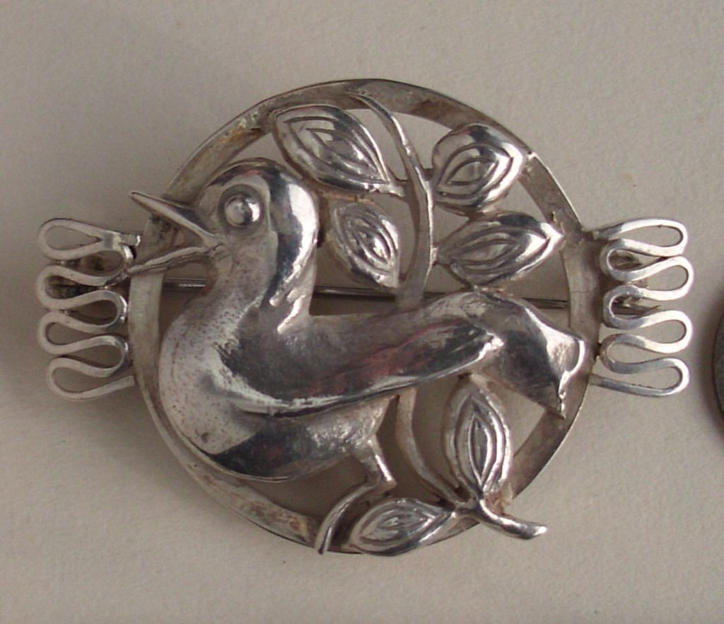 Silver 900 Bird Brooch stylish modernist perhaps mexican