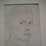 Rare pencil self portrait of german painter Otto H�ger ca. 1898