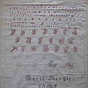 very fine antique needlework sampler dated 1845 Marie Naegler