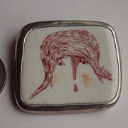 Hand painted ceramics Brooch signed Sterling Silver 925