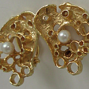 German mid century modern golden ear-clips RELO Gold 585