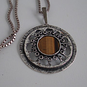 Mid century Modern pendant with tigers eye Silver 925 sterling