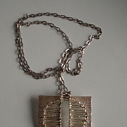Vintage filigree mid century Modern seventies pendant silver 835