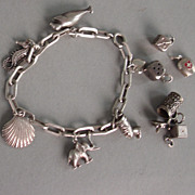 charm bracelet Silver 830 with cute Charms tankard seal nofretete