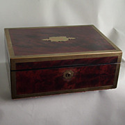 Antique mahogany campaign style captains letter box with brass