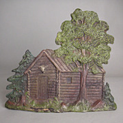 old Lineol toy log-cabin wild west toy