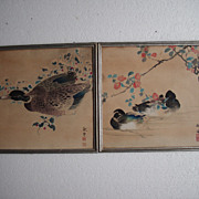 Two japanese woodblock prints Ducks
