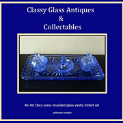 REDUCED A Charming English Art Deco 1930s  - 1940s Blue Glass Trinket  Vanity Set