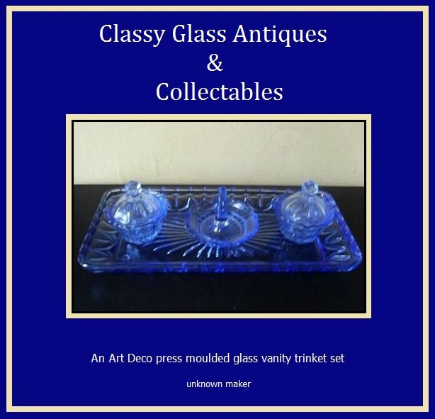 A Charming English Art Deco 1930s  - 1940s Blue Glass Trinket  Vanity Set
