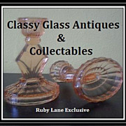 SOLD A Charming Pair of Original Art Deco Pink Depression Glass Candlestick Holders.