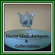 English Art Deco Bagley Glass Center Piece with Original White Metal Mount