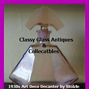 LARGE Czechoslovakian 1930's Art Deco Pink Glass Decanter by Stolzle.