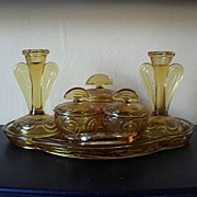 "SOLD Bagley 1930's Art Deco Amber Glass Trinket Boudoir Set. ""Rutland"" Pattern"