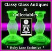 SEVEN PIECE 1930's English Art Deco Vibrant Uranium Green Glass Vanity Set / Trinket Set by Bagley